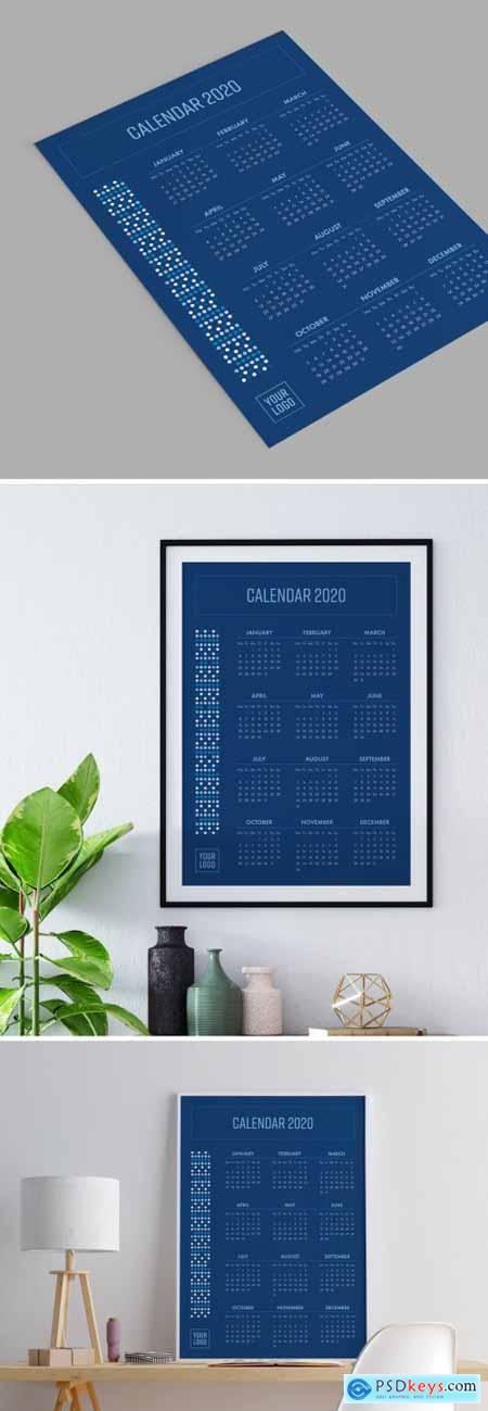 2020 Calendar Poster with Blue Accents 310683113