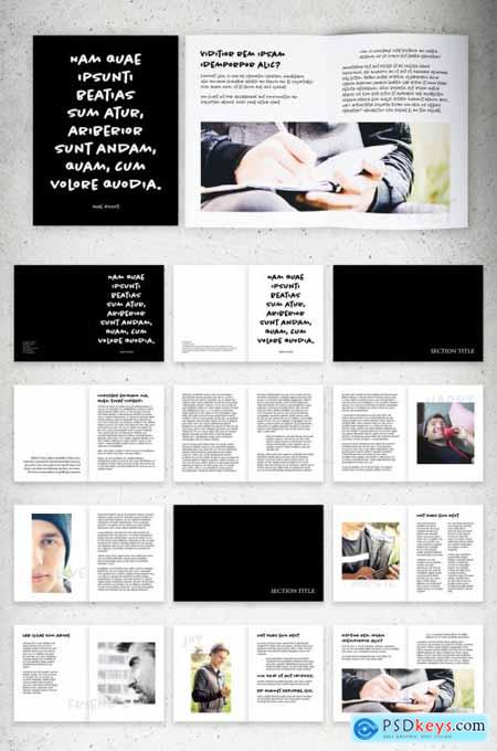 Black and White Brochure Layout with Handwritten Text Elements 310257910