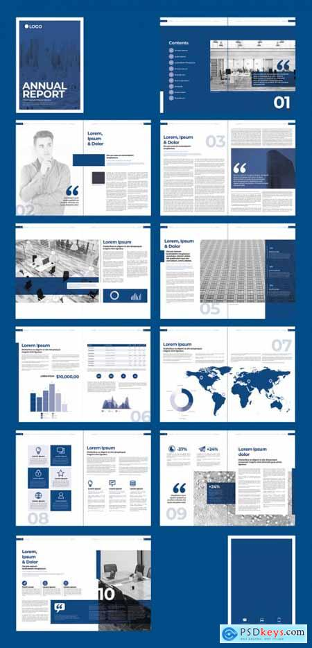 Blue and White Annual Report Brochure Layout 310258395