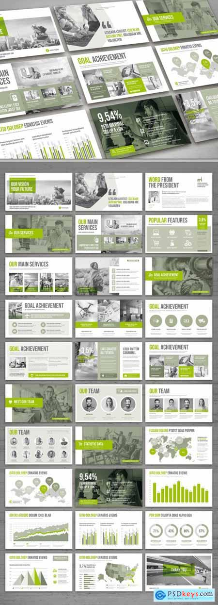 Presentation Pitch Deck Layout in Gray and Green 310484797