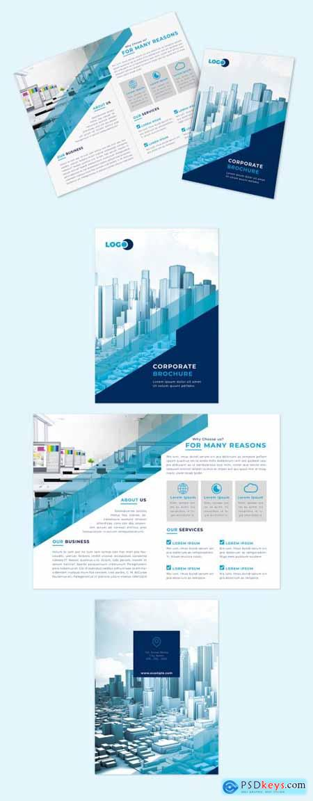 Multipurpose Bifold Brochure Layout with Blue Accents 310258117