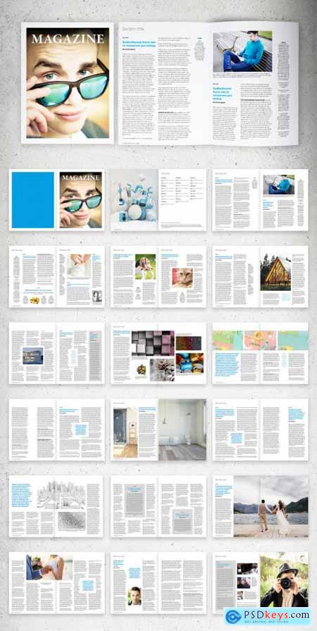 News Magazine Layout with Blue Accents 310257525