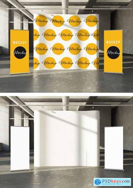 Scene with Rollups and Canvas Mockup 310911939