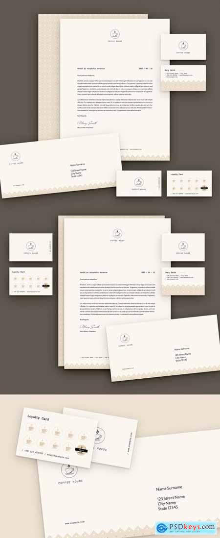 Stationery Layout Set with Coffee Theme 310505006