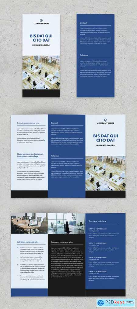 Multipurpose Bifold Brochure Layout with Blue Accents 310259019