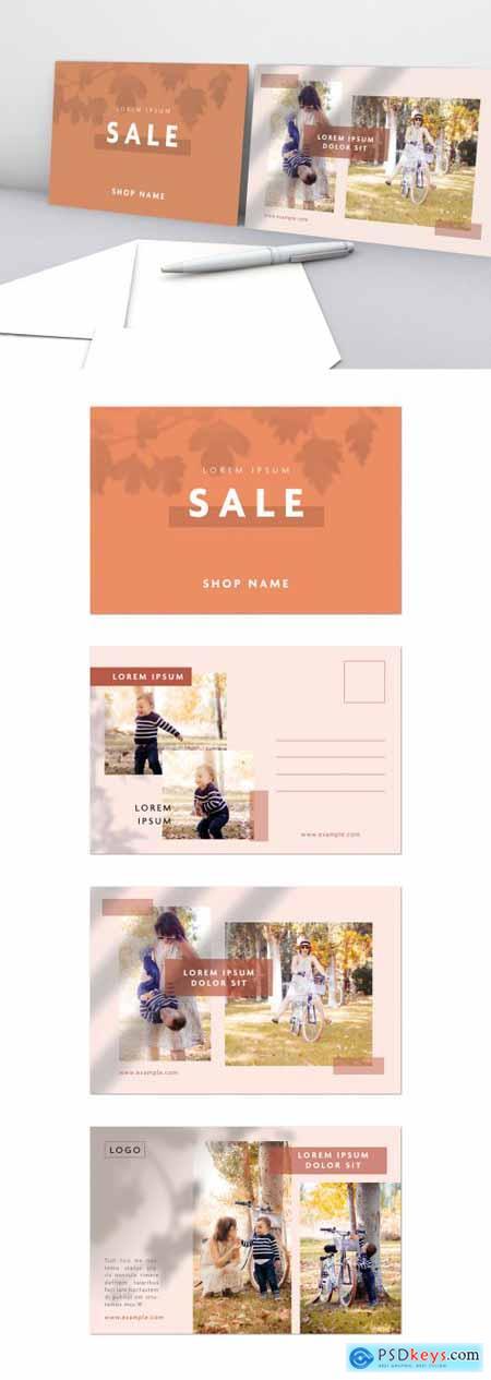 Multipurpose Pink and Orange Postcard Layout 310894573