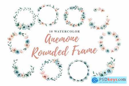10 Watercolor Anemone Rounded Frame Illustration
