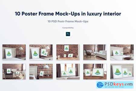 10 Poster Frame Mock-Ups in luxury interior