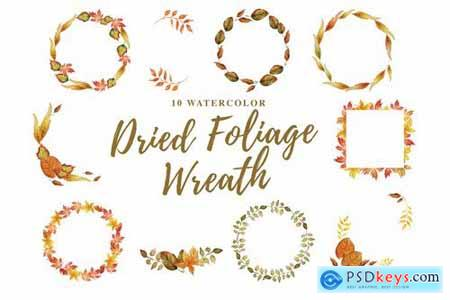 10 Watercolor Dried Foliage Wreath Illustration