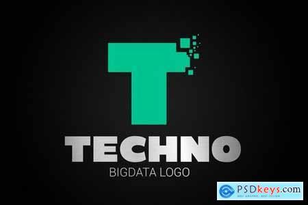 Letter T Big Data Logo