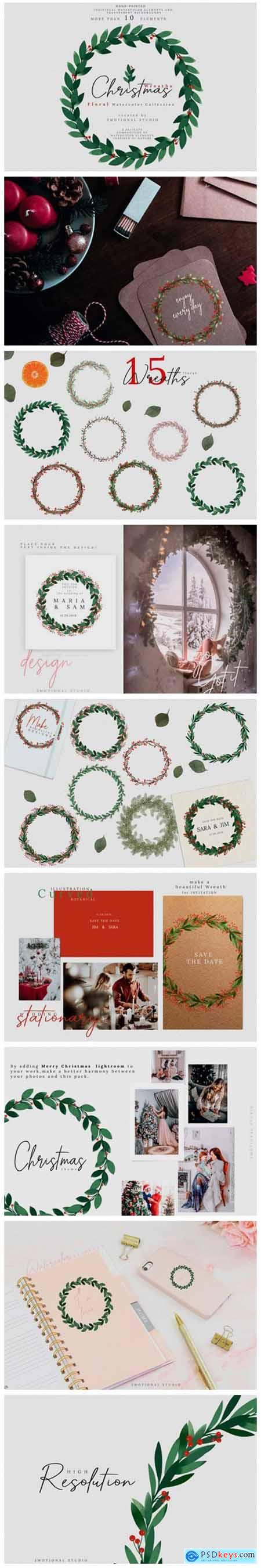 Christmas Watercolor Wreaths Collection 2142617