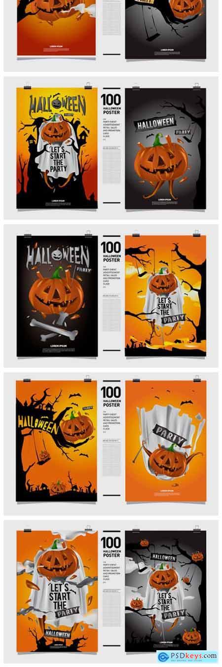 100 Halloween Poster Illustration 2296543