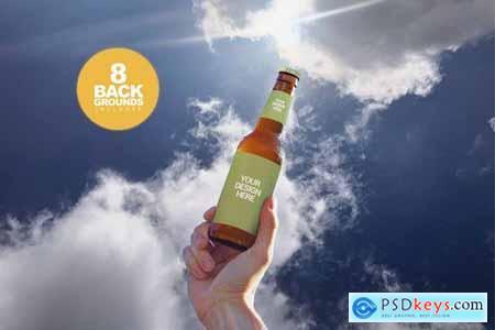 Sky Backgrounds Beer Mockup