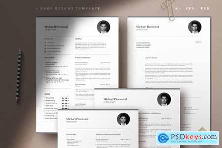 Modern 4 Page Resume Template