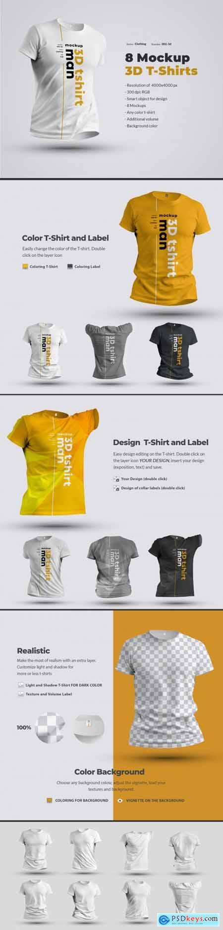 8 Mockups 3D T-Shirts 53350