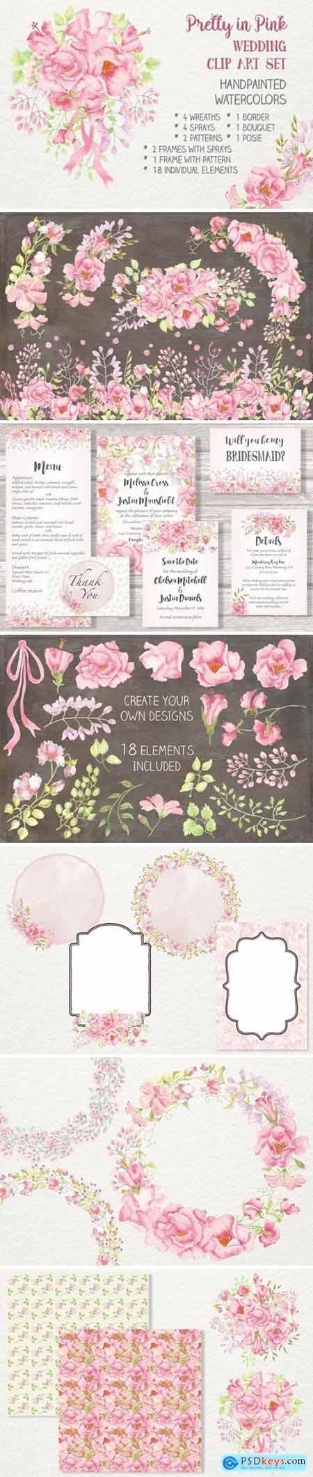Pretty in Pink- Wedding Clip Art Set