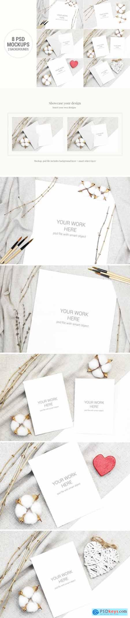 Card Mockup Set with Cotton and Branches 2427955
