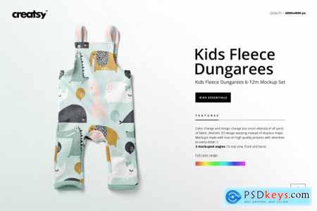 Kids Fleece Dungarees Mockup Set 4329074
