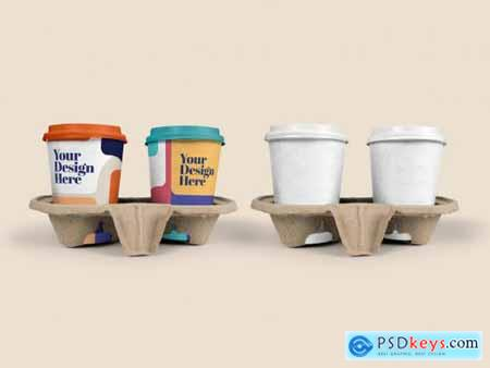 4 Coffee Cups in Paper Trays Mockup 313660435