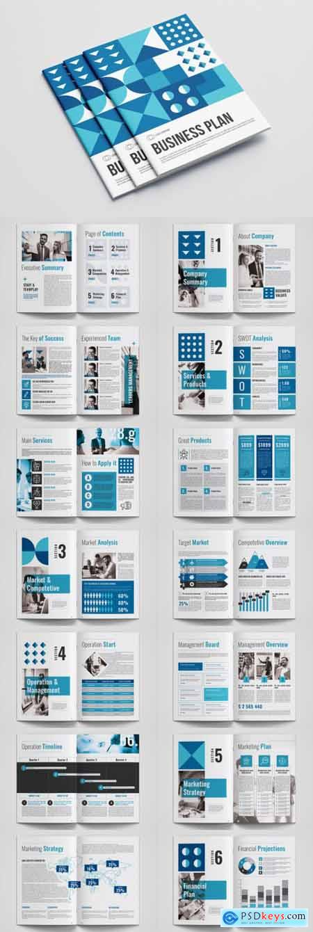 Business Plan Layout with Blue Accents 313897191