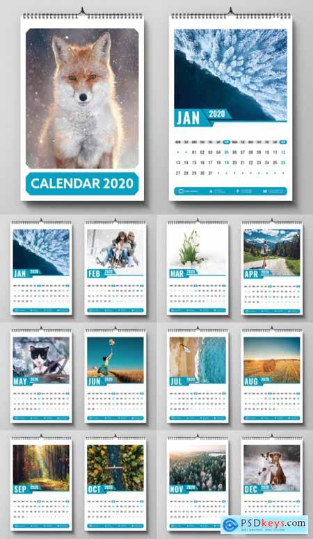 2020 Wall Calendar Layout with Blue Accents 313896436