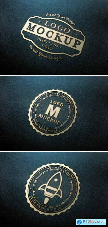 Gold Logo Mockup on Dark Fabric Texture 313648441