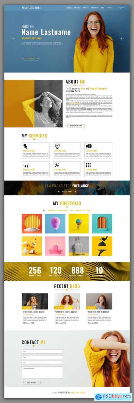 Personal Website Layout with Yellow Accents 313894593