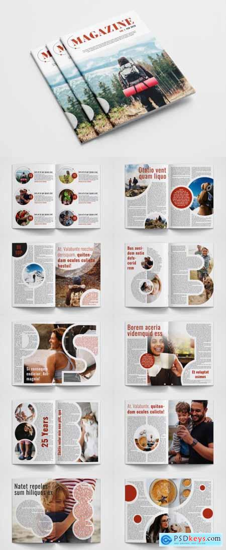 Magazine Layout with Red Accents 313896451