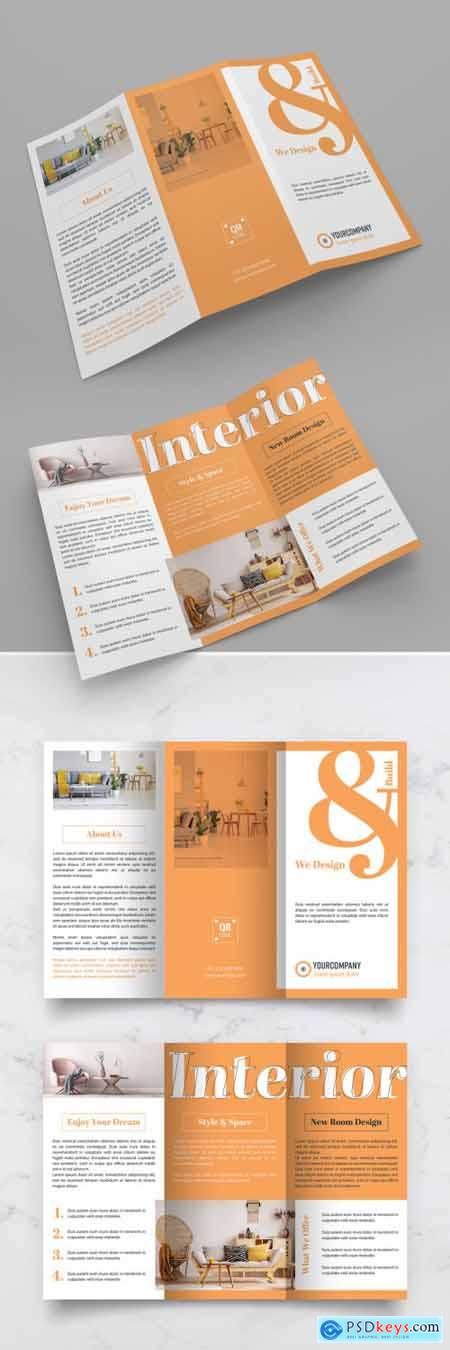 Orange and White Trifold Brochure Layout 313873159