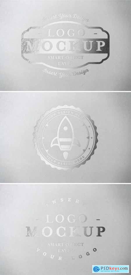 Metallic Paper Pressed Logo Mockup 313648341
