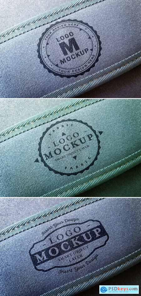 Logo Mockup on Denim Bag Handle 312949887