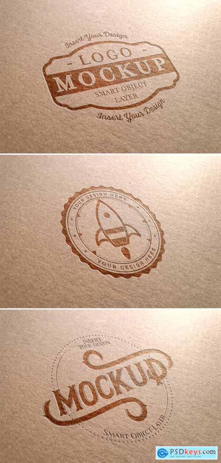 Logo Mockup on Cardboard Texture 313648771