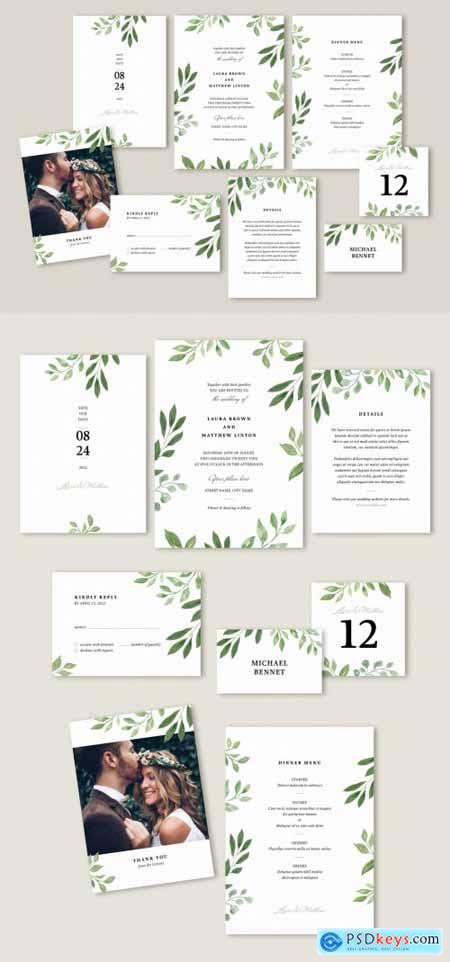 Wedding Suite Layout with Leaves Illustrations 313868406