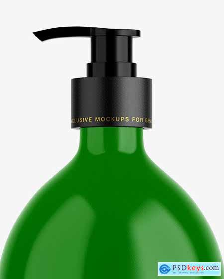 Glossy Plastic Bottle with Pump Mockup 53464