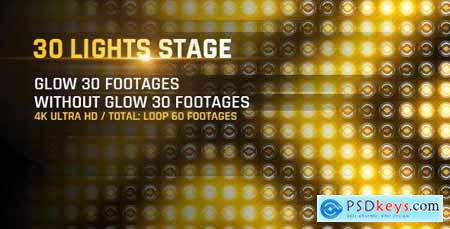 Videohive 30 Lights Stage 4K Loop Footage- Gold Award Led Light Stage Backgrounds- Strobe Dance Party Concert 20971243