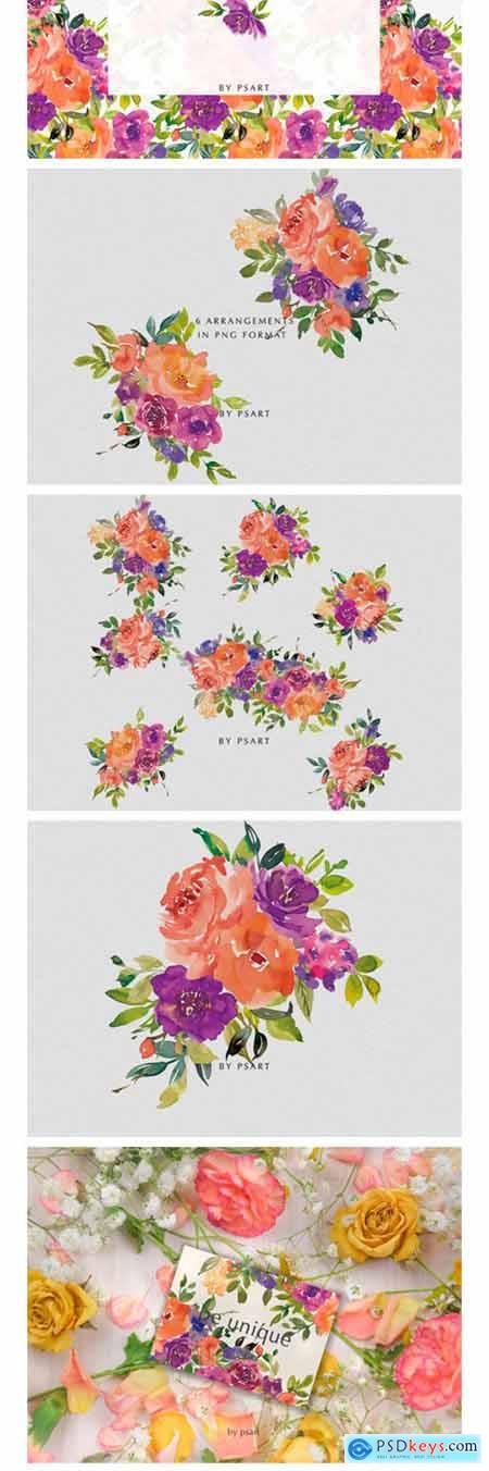 Orange & Purple Watercolor Flowers Set 2450351
