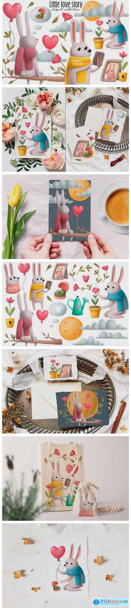 Rabbits Love Story Clipart Set 2457074