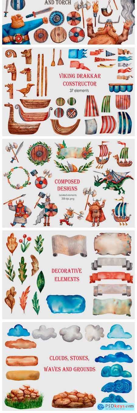 Viking Saga - Watercolor Clip Art Set 2450701