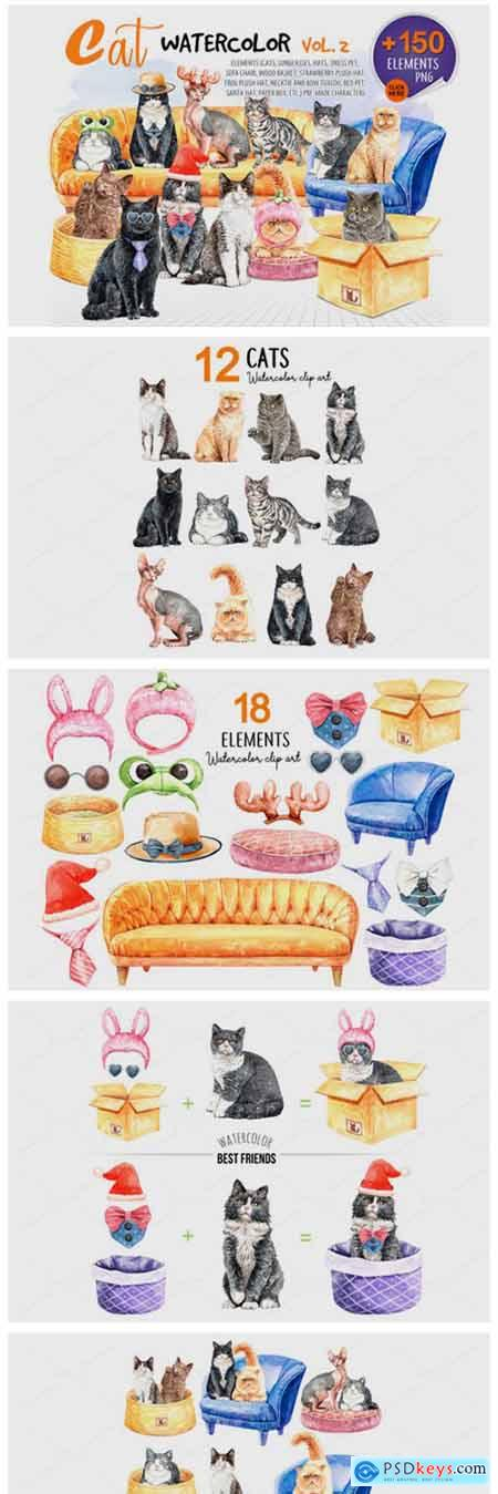 Cats Watercolor Vol 2 Pet Clip Art 2450809