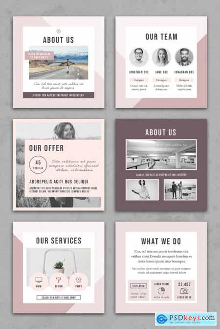 Faded Pastel Pink Social Media Square Post Layouts 314311286