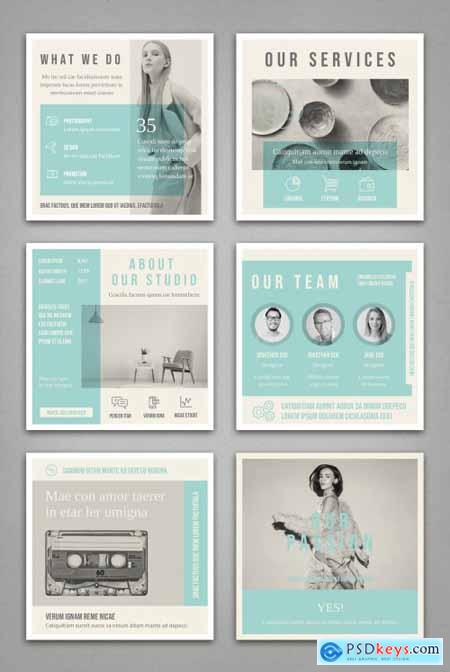 Pale Blue and Light Gray Social Media Square Post Layouts 314311300