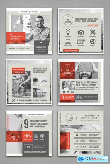 Pale Beige and Gray with Red Accents Social Media Square Post Layouts 314311321