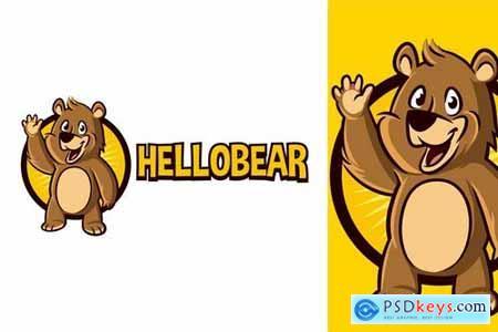 Cartoon Waving Bear Character Mascot Logo