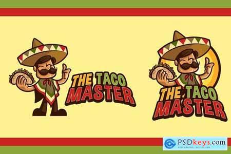 Cartoon Friendly Mexican Holding Taco Mascot Logo