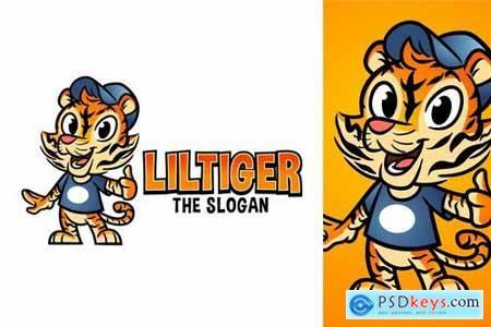 Cartoon Cute Friendly Tiger Character Mascot Logo