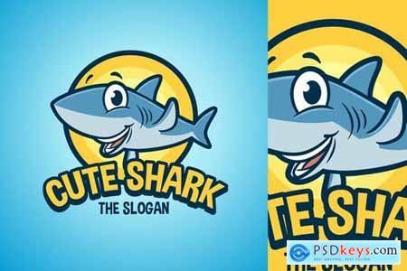 Cartoon Waving Shark Character Mascot Logo