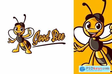 Cartoon Bee Wearing Hat Character Mascot Logo