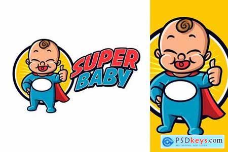 Cartoon Superhero Cute Friendly Baby Mascot Logo