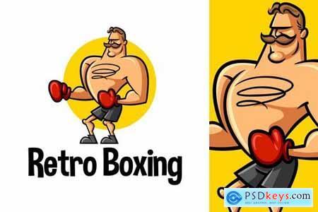 Retro Boxer Character Mascot Logo