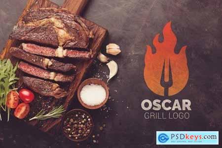 Letter O Fire Grill Logo